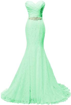 Solovedress Women's Lace Wedding Dress Mermaid Evening Dress Bridal Gown with Sash (US, )