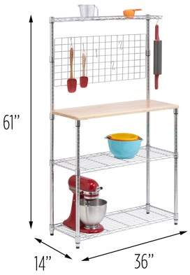 Honey-Can-Do 3-Tier Urban Bakers Rack with Hanging Bar, Chrome/Natural
