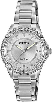 DRIVE FROM CITIZEN ECO-DRIVE Drive from Citizen Eco-Drive Womens Crystal-Accent Stainless Steel Bracelet Watch FE6060-51A