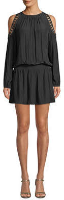 Ramy Brook Shelby Long-Sleeve Cold-Shoulder Dress