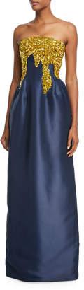 Oscar de la Renta Strapless Paillette-Embellished Faille Gown