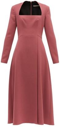 Emilia Wickstead Glenda Square Neckline Wool Crepe Midi Dress - Womens - Dark Pink