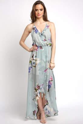 Abbeline Bare Floral Printed Ruffle Neck Maxi Dress