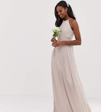 TFNC Tall Tall bridesmaid exclusive high neck pleated maxi dress in taupe