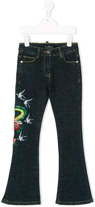 John Richmond Kids embroidered flared jeans