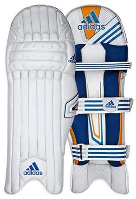 adidas Cx11 Kids Cricket Batting Pads White/blue - Right Hand Small Boys