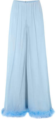 Rosamosario - Peter Pan Love Feather-trimmed Silk-georgette Pajama Pants - Sky blue