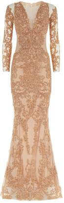 Mikael D Embellished Long Sleeve Gown