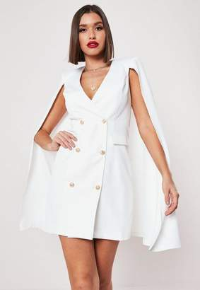 fbe0af7dad6 Missguided White Cape Double Breasted Blazer Dress