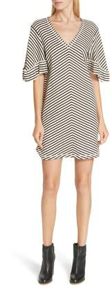 See by Chloe Stripe Ruffle Sleeve Shift Dress