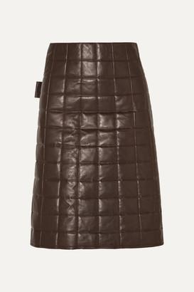 Bottega Veneta Quilted Leather Skirt - Brown