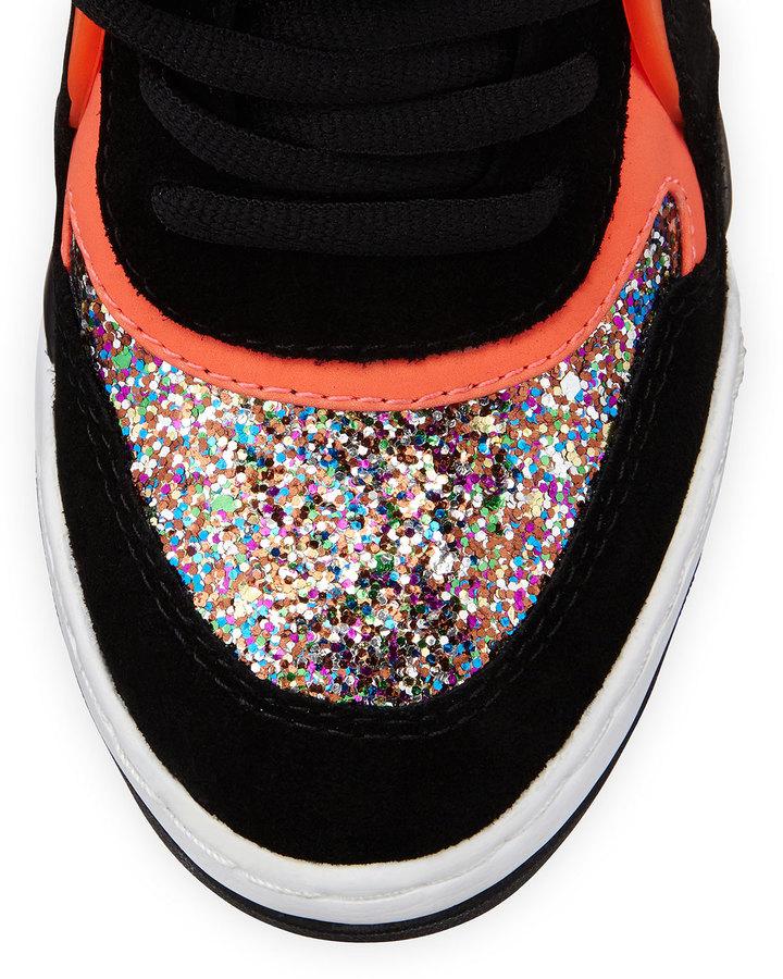 Ash Bling Star-Detailed Glitter Wedge Sneaker, Black/Starlight/Fluorescent Peach