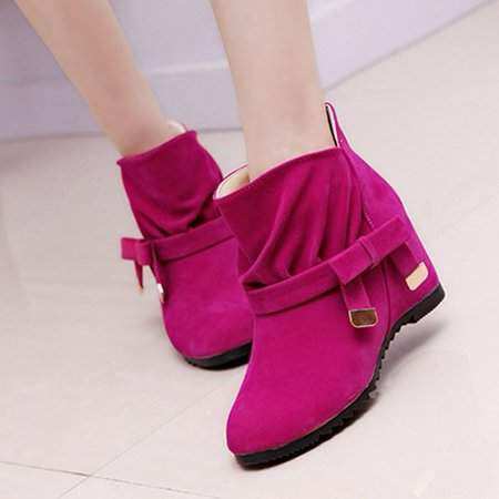 OUTAD Red Lady Ankle Boots Wedge Heel Boots Snow Boots Short Martin Boots Female Fashion Solid Shoes For Spring Autumn And Winter