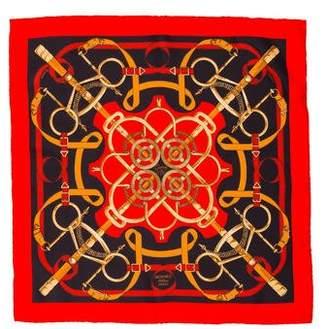Hermes Eperon D'Or Silk Pocket Square