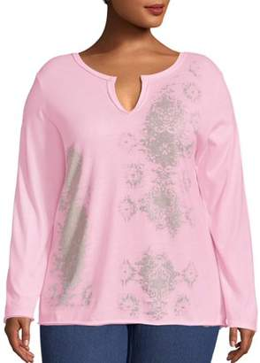 Just My Size Women's Plus Size Split Neck Long Sleeve Graphic Tee