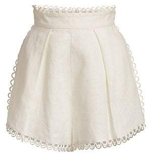 Zimmermann Women's Allia High-Waist Linen Scallop Shorts
