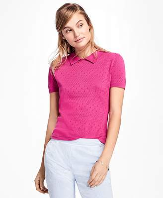 Short-Sleeve Cotton Pointelle Polo Sweater $58 thestylecure.com