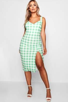 boohoo Plus Checked Midi Dress