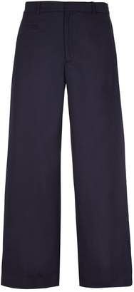 He & DeFeber - Dark Navy Side Pleated Wide Leg Trousers