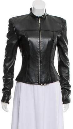 Gucci Leather Mock-Neck Jacket