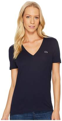 Lacoste Short Sleeve Solid V-Neck Jersey Tee Women's T Shirt
