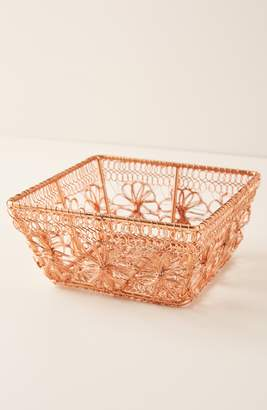 Anthropologie Copper Floral Berry Basket