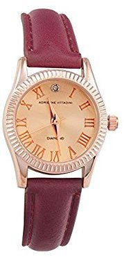 Adrienne Vittadini Ladies Watch add10440r196 – 151ローズゴールドダイヤルレザーQuartz Movement