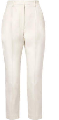Alexander McQueen Cropped Wool-blend Straight-leg Pants - Ivory