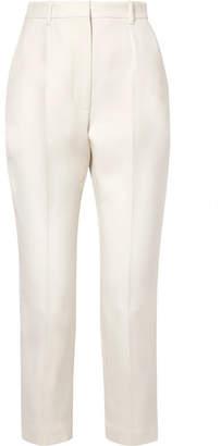 Alexander McQueen Cropped Wool-blend Straight-leg Pants - Ivory