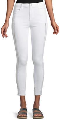 J Brand Alana High-Rise Cropped Super Skinny Jeans w/ Ladder Lace, White