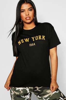 boohoo Plus New York Slogan T-Shirt