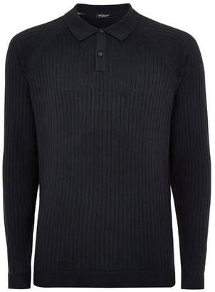 Topman Mens SELECTED HOMME Navy Ribbed Polo