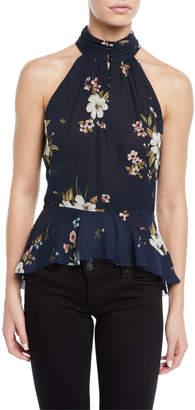 Joie Abbigayl Floral-Print Silk Halter Peplum Top