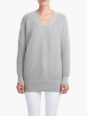French Connection Ottoman V-Neck Knit Jumper, Light Grey