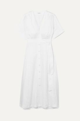 0f8b125e16 Equipment Nauman Belted Linen Midi Dress - White
