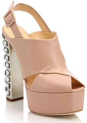 Giuseppe Zanotti Crystal-Trimmed Leather Platform Slingback Sandal