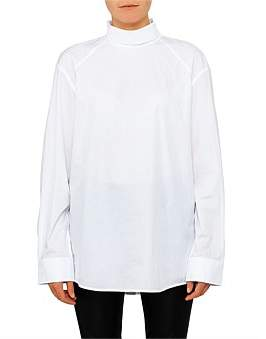 Helmut Lang Crisp Cotton High Neck Utilitaria Shirt
