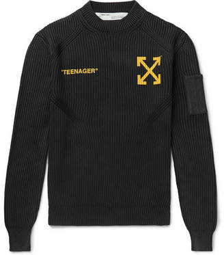 Off-White Off White Bart Simpson Printed Ribbed Cotton and Cashmere-Blend Sweater - Men - Black