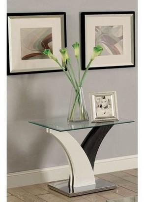 Furniture of America Talon Contemporary End Table, White & Dark Gray
