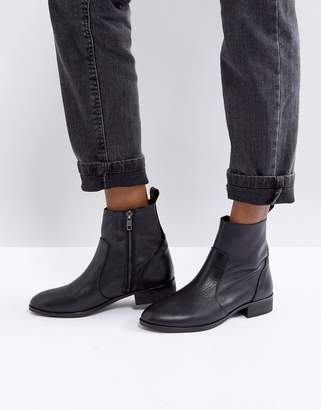Office Ashleigh Black Leather Flat Ankle Boots
