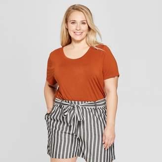 Ava & Viv Women's Plus Size Short Sleeve Scoop Neck Relaxed T-Shirt