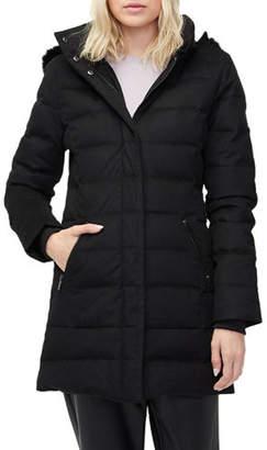 UGG Celeste Wool-Blend Puffer Coat w/ Toscana Fur Trim
