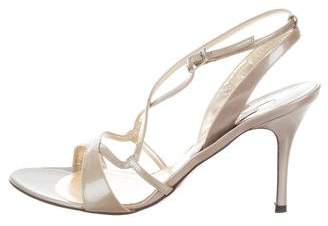 Luciano Padovan Patent Leather Crossover Sandals