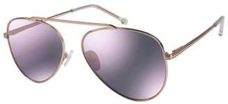 Colors In Optics Cosmic Aviator Sunglasses with Open Nose Bridge, Rose Gold