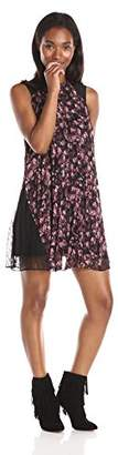 BCBGeneration Women's Crushed Berry Lace Insets Pleated Dress