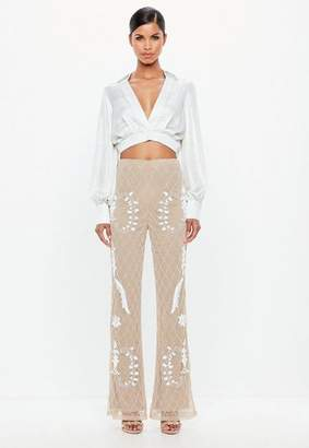 Missguided Nude Embellished Flared Trousers