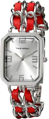 Vernier Women's VNR11180SS -Tone Watch with Faux-Leather and Chain-Link Bracelet