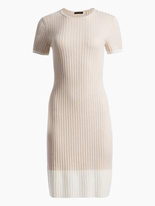 St. John Two-Tone Rib Knit Short Sleeve Dress
