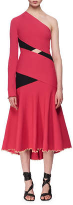 Proenza Schouler One-Shoulder Exposed Bandage Midi Dress, Fuchsia