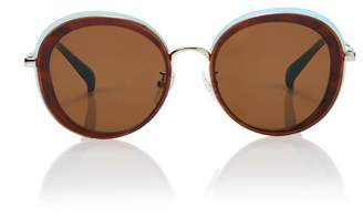 Blanc Eclare Portofino Blue Jay And Silver Metal With Solid Brown Lens